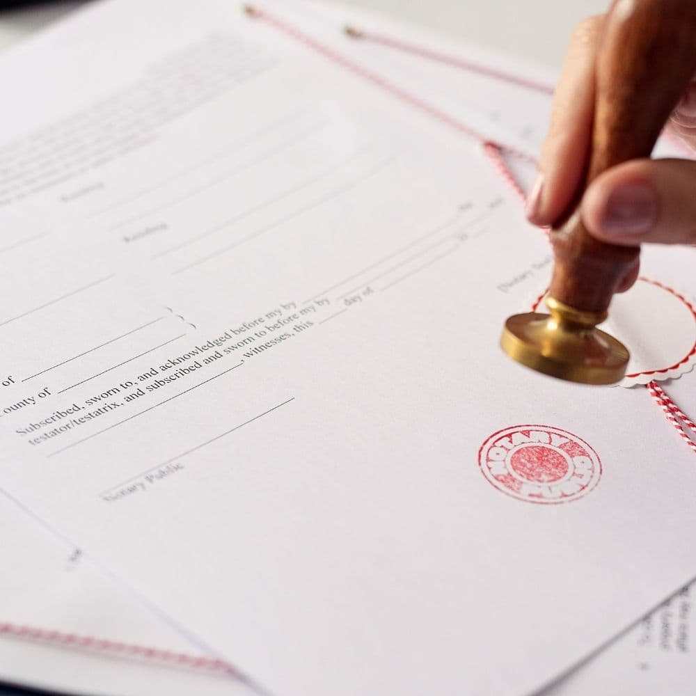 an image of a freshly sealed notary document